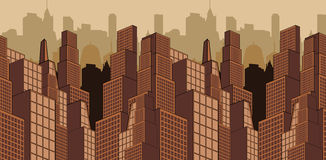 Skyscrapers seamless horizontal vector pattern. City scape. Urban Landscape. Skyscrapers vector image. City scape Stock Image