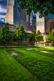 Skyscrapers and the September 11th Memorial Grounds in Lower Man Royalty Free Stock Images
