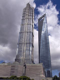 Skyscrapers of Shanghai. Two skyscrapers in Shanghai,The Jin Mao Tower on the left and Shanghai World Financial Center on the right Stock Images