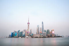 Skyscrapers of the Shanghai financial district at dusk Royalty Free Stock Image