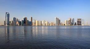Skyscrapers in Sharjah. Khalid Lagoon.UAE Royalty Free Stock Images