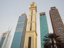 Skyscrapers on Sheikh Zayed Road in Dubai. stock photography