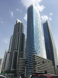 Skyscrapers on Sheikh Zayed Road in Dubai, UAE royalty free stock photos