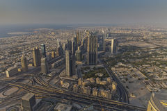 Skyscrapers Sheikh Zayed Road and Financial Centre Road in Dubai, UAE. View Downtown Dubai from the height of the Burj Khalifa Royalty Free Stock Image