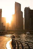 Skyscrapers silhuette at sunset in Dubai marina Stock Image