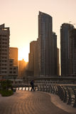 Skyscrapers silhuette at sunset in Dubai marina Royalty Free Stock Image