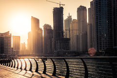 Skyscrapers silhuette at sunset in Dubai marina Royalty Free Stock Photography