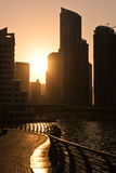Skyscrapers silhuette at sunset in Dubai marina Stock Photo