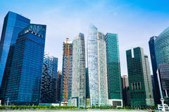 Skyscrapers of Singapore business district Royalty Free Stock Photos