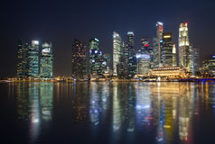 Singapore at night. Skyscrapers in Singapore at night Royalty Free Stock Image