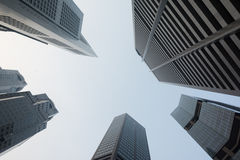 Skyscrapers in Singapore viewed from the ground Stock Photography