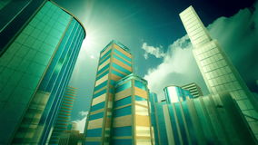 Skyscrapers on sky background. stock footage