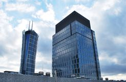 Skyscrapers. Skyscraper clusters of skyscrapers, downtown, glass facades, tall buildings, office buildings, apartment,warsaw stock photography