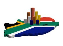 Skyscrapers on South Africa map flag Royalty Free Stock Photo