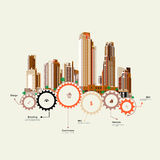 Skyscrapers stand on the gears Royalty Free Stock Image