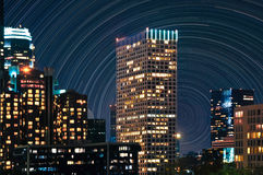 Skyscrapers with Star Trails Stock Photo