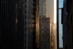Skyscrapers Steet at Sunset, Chicago Downtown Royalty Free Stock Image