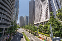 Skyscrapers and street Stock Images