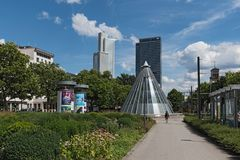 Skyscrapers and subway station at the Friedrich Ebert Park facility in Frankfurt, Germany.  Stock Photos