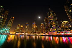Skyscrapers in summer night, Dubai, UAE Royalty Free Stock Photography
