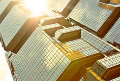 Skyscrapers with sun glare Stock Images