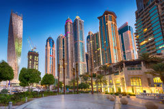 Skyscrapers in sunrise, Dubai Marina. Stock Photo