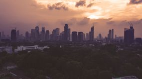 Skyscrapers during sunset in Jakarta stock photography