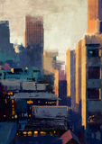 Skyscrapers at sunset. Painting of skyscrapers at sunset Royalty Free Stock Photos