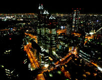 Skyscrapers in Tokyo city at night Stock Photography