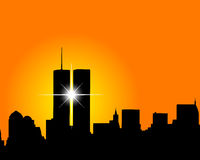 Skyscrapers twins. Silhouette of skyscrapers twins on an orange background Stock Photos