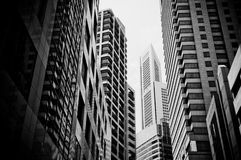 Skyscrapers, typical urban cityscape. Skyscrapers in black and white, typical urban cityscape Royalty Free Stock Image