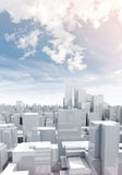 Skyscrapers under cloudy sky, 3d illustration. Abstract digital white cityscape with tall skyscrapers and office buildings under cloudy sky, 3d illustration Royalty Free Stock Image