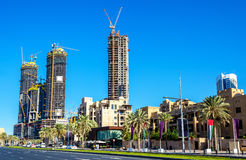 Skyscrapers under construction in Dubai downtown Royalty Free Stock Images