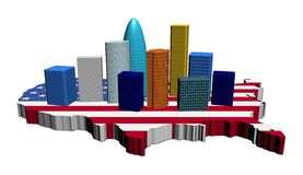 Skyscrapers on USA map flag Royalty Free Stock Image
