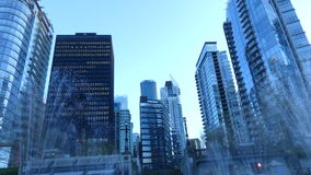 Skyscrapers Vancouver BC Canada. Business district office buildings Vancouver stock footage