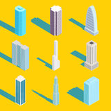 Skyscrapers, vector isometric city buildings Royalty Free Stock Image