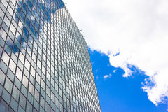 Skyscrapers view with blue sky building business concept reflexion. Skyscrapers view with blue sky with clouds reflection Stock Photos
