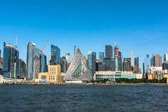 Skyscrapers view from the Hudson River, Manhattan, NYC. Skyscrapers of Manhattan view from the Hudson River, New York City stock image