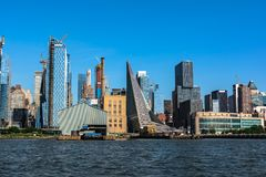 Skyscrapers view from the Hudson River, Manhattan, NYC. Manhattan,New York City,USA - June 30, 2018 : Skyscrapers of Manhattan view from the Hudson River stock photography