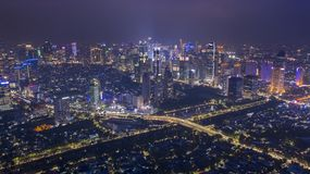 Skyscrapers view with night lights in Jakarta city royalty free stock photography