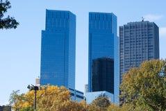 Skyscrapes i Central Park Royaltyfria Foton