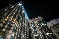 Skyscrapper ucraniano con la iluminación foto de archivo