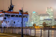Skyscrappers夜,伦敦 图库摄影