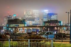 Skyscrappers in de nacht, Londen Stock Foto