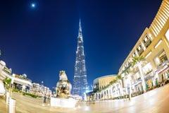 Skyscrappers Doubai in de zomernacht Royalty-vrije Stock Afbeeldingen