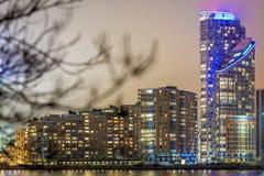 Skyscrappers en la noche, Londres Fotografía de archivo