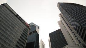 Skyscrappers przeciw niebu w Singapur obrazy royalty free