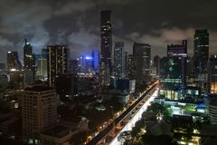 Skyscrappers of Silom by Night stock images