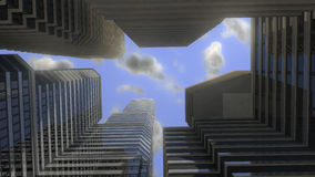 Skyscrappers. Sky between tall buildings in big city Royalty Free Stock Photos