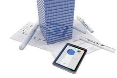 Skyskrapa- och tabletPC Arkivbild